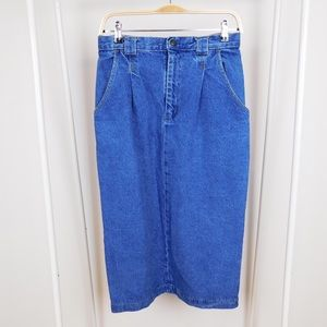 Vintage Denim Cotton Pencil Skirt